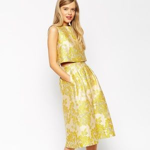 Asos Golden Jacquard Midi Skirt